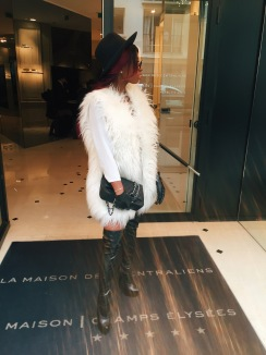 Hat: Top Shop, Sunglasses: Dior, Bag: Chanel, Dress/Top: Zara, Gloves: Zara, Boots: Office